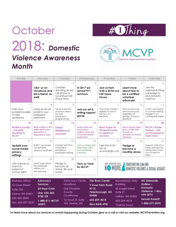 DVAM Calendar 2018
